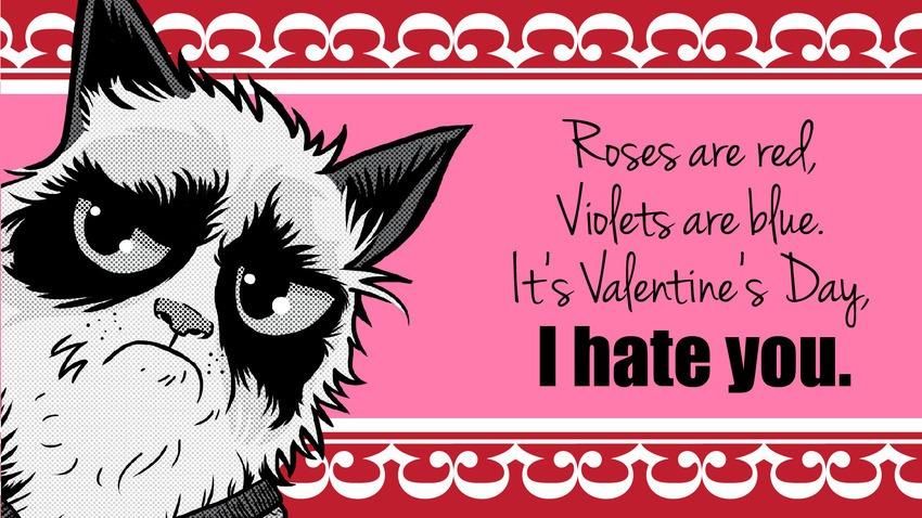 Grumpy Cat Says Happy Valentines Day.   KillerUnicorns